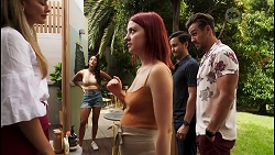 Chloe Brennan, Yashvi Rebecchi, Nicolette Stone, David Tanaka, Aaron Brennan in Neighbours Episode 8618