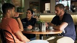 Levi Canning, Yashvi Rebecchi, Kyle Canning in Neighbours Episode 8643