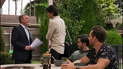 Paul Robinson, Leo Tanaka, David Tanaka, Aaron Brennan in Neighbours Episode 8649