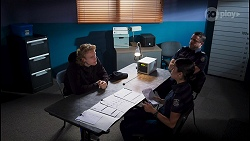 Nelson Ryker, Yashvi Rebecchi, Constable Andrew Rodwell in Neighbours Episode 8649