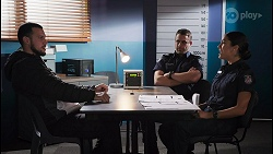 Mitch Foster 2, Constable Andrew Rodwell, Yashvi Rebecchi in Neighbours Episode 8649