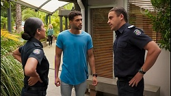 Yashvi Rebecchi, Levi Canning, Constable Andrew Rodwell in Neighbours Episode 8649