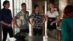 Leo Tanaka, Aaron Brennan, David Tanaka, Chloe Brennan, Nicolette Stone in Neighbours Episode 8655