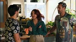 David Tanaka, Nicolette Stone, Aaron Brennan in Neighbours Episode 8656