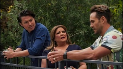 Leo Tanaka, Terese Willis, Aaron Brennan in Neighbours Episode 8656