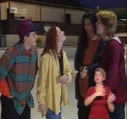 Rick Alessi, Cody Willis, Lata Chatterji, Brett Stark in Neighbours Episode 2215