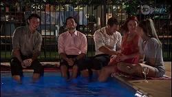 Leo Tanaka, David Tanaka, Aaron Brennan, Nicolette Stone, Chloe Brennan in Neighbours Episode 8661