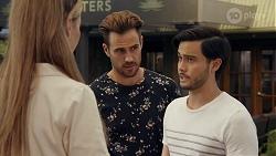 Chloe Brennan, Aaron Brennan, David Tanaka in Neighbours Episode 8668