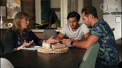 Jane Harris, David Tanaka, Aaron Brennan in Neighbours Episode 8671