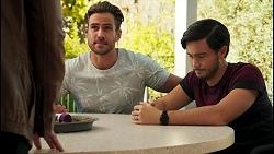 Karl Kennedy, Aaron Brennan, David Tanaka in Neighbours Episode 8673