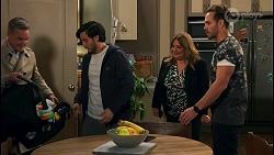 Paul Robinson, David Tanaka, Terese Willis, Aaron Brennan in Neighbours Episode 8682