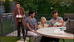 Leo Tanaka, David Tanaka, Roxy Willis, Aaron Brennan, Isla Tanaka-Brennan in Neighbours Episode 8682