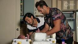 Isla Tanaka-Brennan, David Tanaka, Aaron Brennan in Neighbours Episode 8684