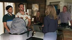 David Tanaka, Aaron Brennan, Chloe Brennan, Jane Harris, Clive Gibbons in Neighbours Episode 8689