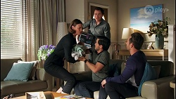 Britney Barnes, Abigail Tanaka, Leo Tanaka, David Tanaka, Aaron Brennan in Neighbours Episode 8710