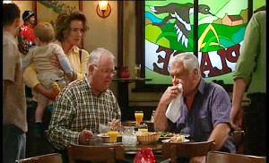 Harold Bishop, Lou Carpenter, Lyn Scully, Oscar Scully in Neighbours Episode 4490