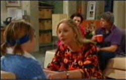 Bree Timmins, Janelle Timmins, Lyn Scully, Joe Mangel in Neighbours Episode 4834