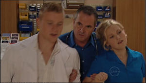 Boyd Hoyland, Karl Kennedy, Janae Timmins in Neighbours Episode 5040
