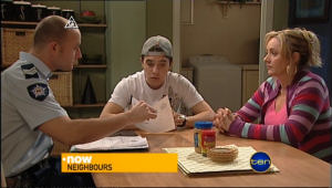 Sgt Ray Moller, Stingray Timmins, Janelle Timmins in Neighbours Episode 5045