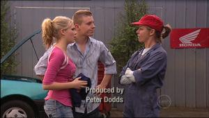 Janae Timmins, Boyd Hoyland, Christine Rodd in Neighbours Episode 5062