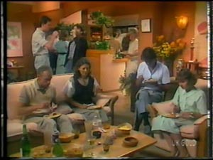 Peter Kirk, Anna Rossi, Julie Robinson, Jim Robinson, Des Clarke, Danny Ramsay, Daphne Clarke in Neighbours Episode 0013