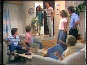 Paul Robinson, Scott Robinson, Anna Rossi, Jim Robinson, Julie Robinson, Peter Kirk, Helen Daniels in Neighbours Episode 0015