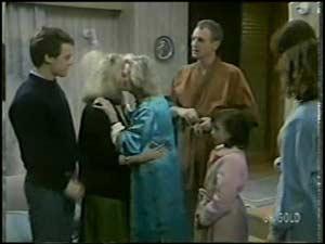 Paul Robinson, Terry Inglis, Helen Daniels, Jim Robinson, Lucy Robinson, Scott Robinson, Julie Robinson in Neighbours Episode 0101