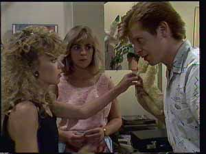 Charlene Mitchell, Clive Gibbons, Jane Harris in Neighbours Episode 0413