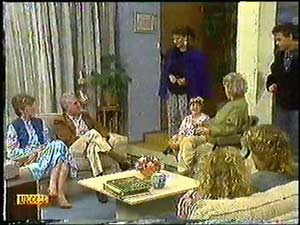 Mrs Wright, Kenneth Muir, Gail Robinson, Lucy Robinson, Paul Robinson, Helen Daniels, Henry Ramsay, Charlene Mitchell in Neighbours Episode 0597