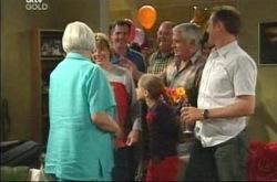 Rosie Hoyland, Boyd Hoyland, Max Hoyland, Summer Hoyland, Harold Bishop, Lou Carpenter, Karl Kennedy in Neighbours Episode 4214