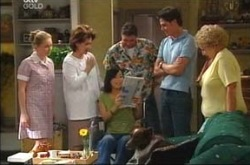 Michelle Scully, Lyn Scully, Lori Lee, Joe Scully, Jack Scully, Valda Sheergold in Neighbours Episode 4216