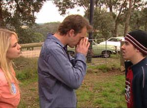 Sky Mangel, Stuart Parker, Stingray Timmins in Neighbours Episode 4847