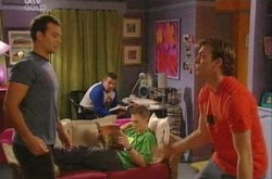 Taj Coppin, Toadie Rebecchi, Stuart Parker in Neighbours Episode 4340