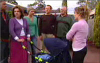 Joe Scully, Lyn Scully, Steph Scully, Max Hoyland, Harold Bishop, Izzy Hoyland, Oscar Scully in Neighbours Episode 4419