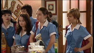Bree Timmins, Zeke Kinski, Louise Carpenter (Lolly), Rachel Kinski in Neighbours Episode 5137