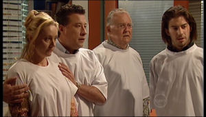 Janelle Timmins, Allan Steiger, Harold Bishop, Dylan Timmins in Neighbours Episode 5169