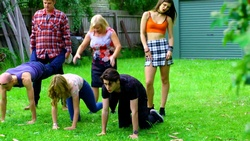 Gary Canning, Uncle Keith, Sheila Canning, Xanthe Canning, Kylie Canning, Ben Kirk  in Neighbours Webisode Christmas Crackers/Summer Stories 1
