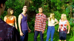Ben Kirk, Kylie Canning, Uncle Keith, Gary Canning, Xanthe Canning, Sheila Canning  in Neighbours Webisode Christmas Crackers/Summer Stories 1