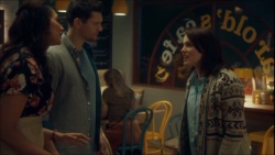 Dipi Rebecchi, Finn Kelly, Angela Lane  in Neighbours Webisode Episode 1 - Monday